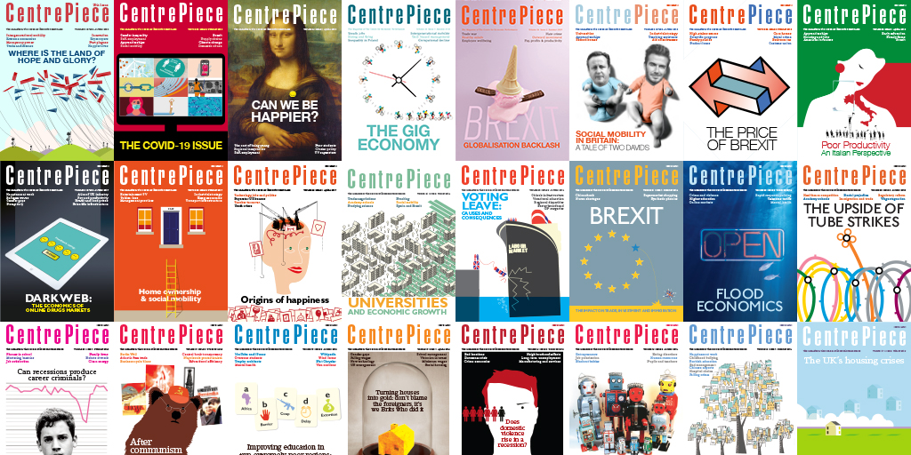 Montage of previous CentrePiece edition covers