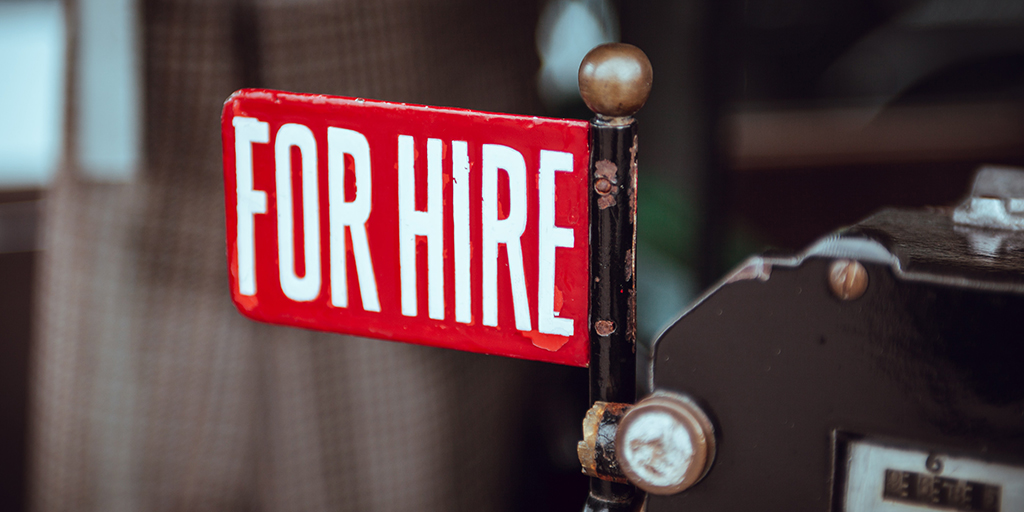 Photo of for hire sign. Published under CC0 Public Domain. From https://unsplash.com/photos/fY8Jr4iuPQM