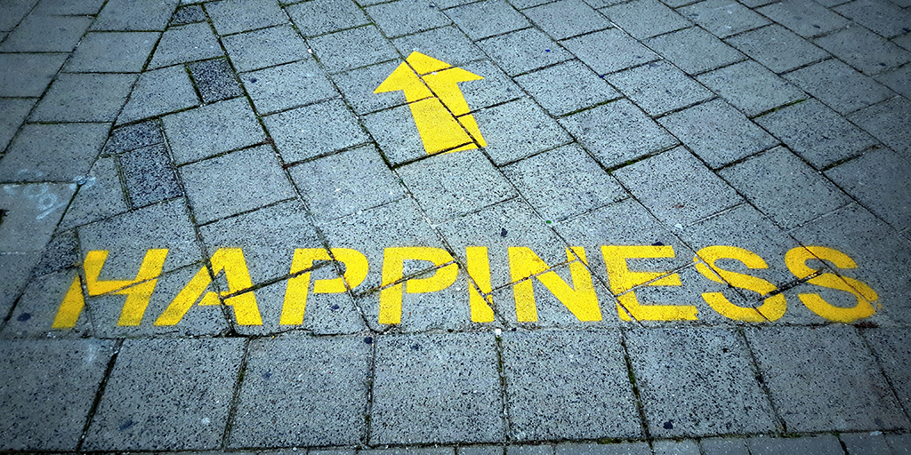 Photo of roadmarking saying 'happiness.' Published under CC0 Public Domain. From https://unsplash.com/photos/jj4x2mlEYQ0